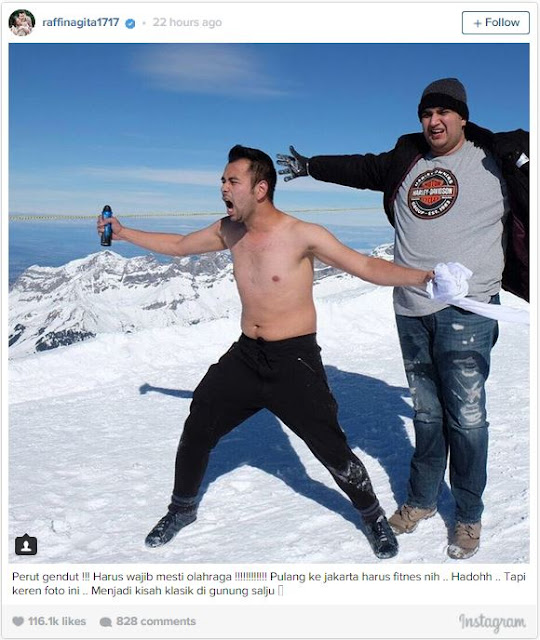Aksi Netak Rafi Ahmad di Gunung Salju Jadi Meme Lucu