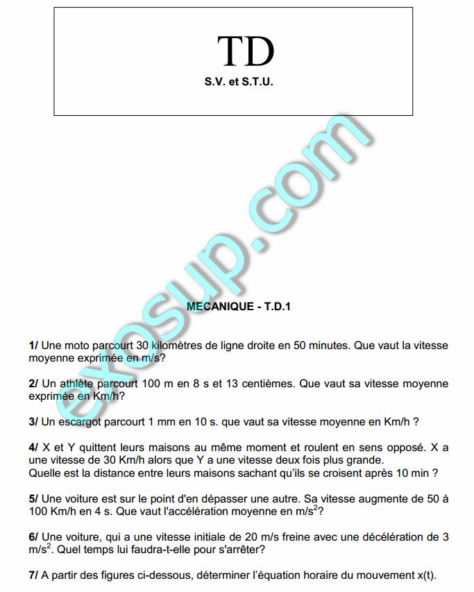 Mécanique Du Point Matériel S1 Travaux Dirigés Corrigés S