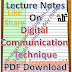 Lecture Notes on Digital Communication Technique PDF Material Download