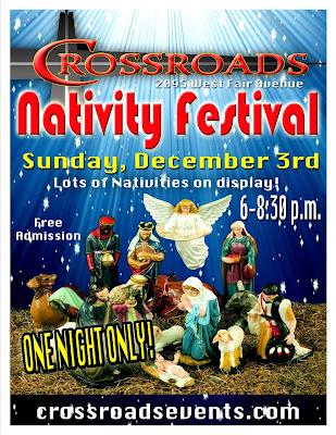 First United Methodist Church Nativity Festival Ad with Nativity Scene