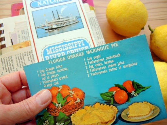 katiecrackernuts.blogspot.com || vintage cook book florida orange meringue pie recipe card