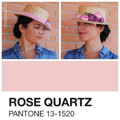 Sombrero - Tocado con cinta de terciopelo rosa cuarzo para invitada boda, el color del 2016 de Pantone