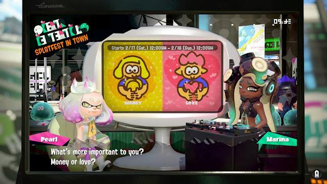 Splatoon 2 Splatfest Money or Love Pearl Marina introduction
