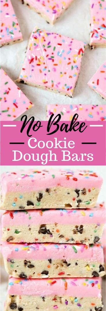NO BAKE COOKIE DOUGH BARS #Desserts #cookies