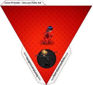 Miraculous Ladybug Free Printable Pyramid Box.