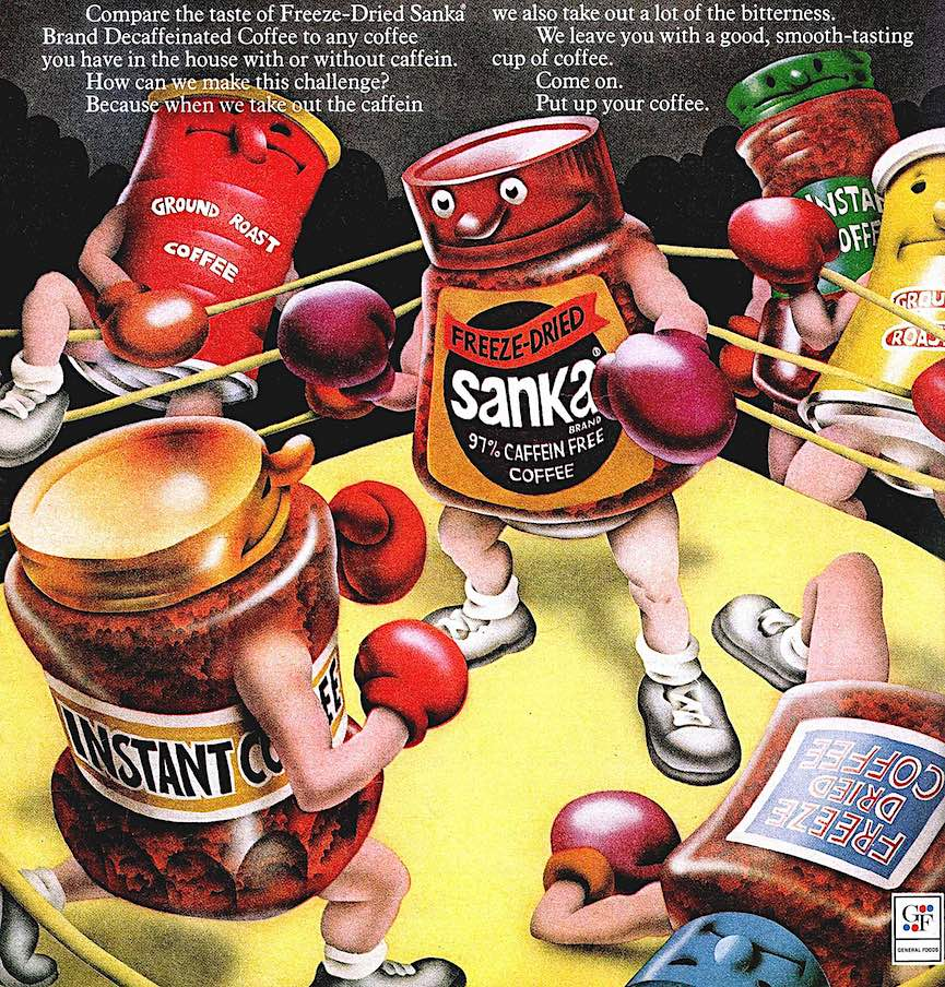 1972 Sanka coffee, an airbrush illustration of Sanka in the boxing ring