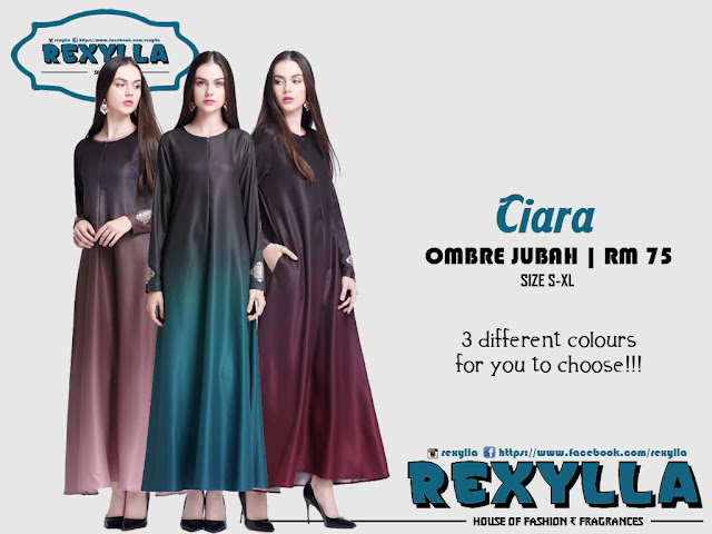 rexylla, ombre jubah, ciara collection