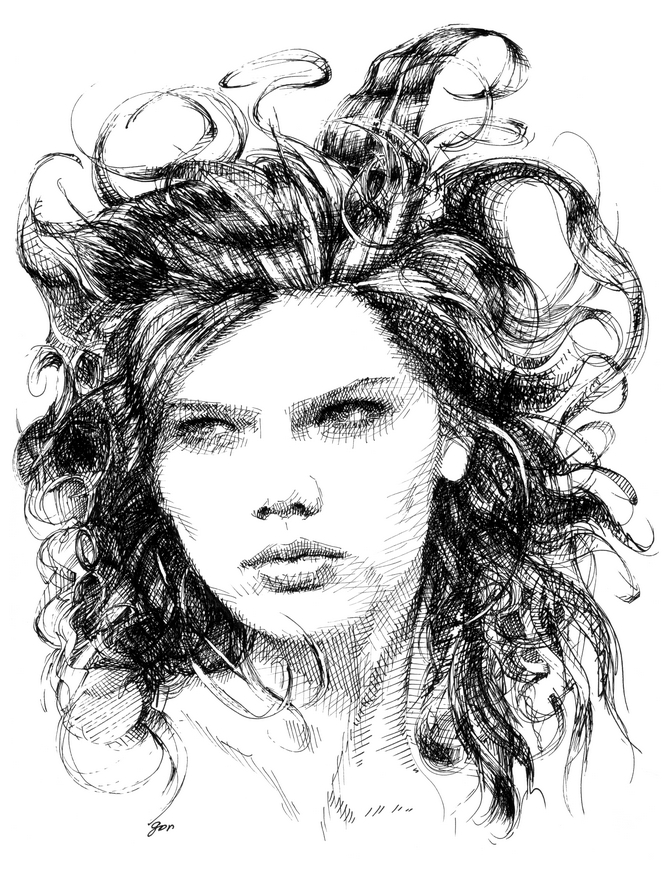 pen & ink, black & white, crosshatch portrait, angry girl