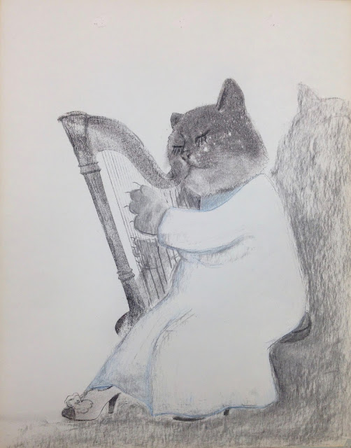 cat concert choir harf player cat art illustration drawing print music shoes vintage