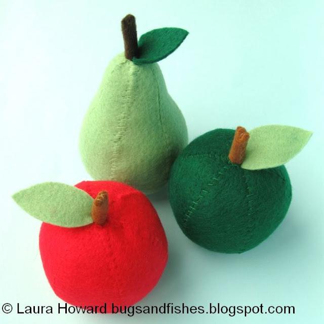 felt apples and a pear