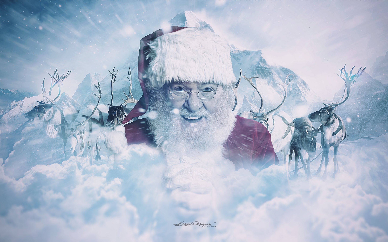 santa claus and his reindeer hd wallpapers 4k