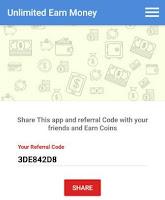 unlimited earn money app referral code