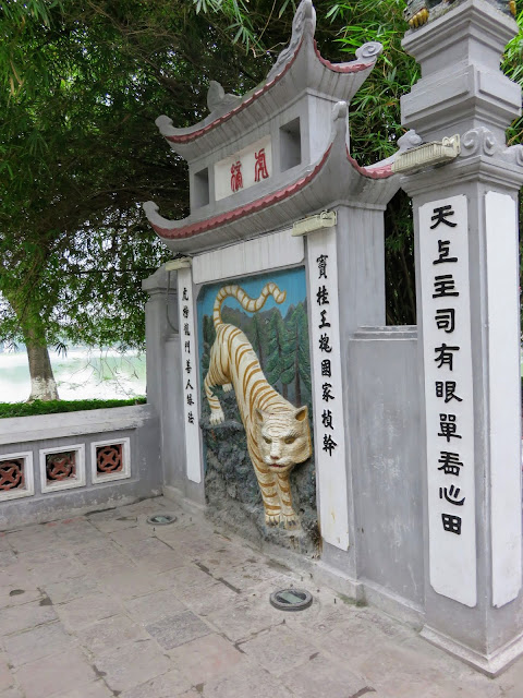 Tiger image on a gate leading to Đền Ngọc Sơn in Hanoi Vietnam