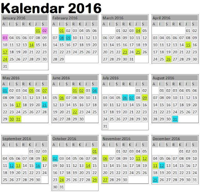 Kalendar Cuti Umum 2016 & Jadual Cuti Sekolah