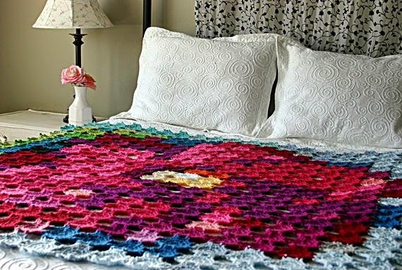 Pointillism Posie Blanket Crochet Pattern by Susan Carlson of Felted Button