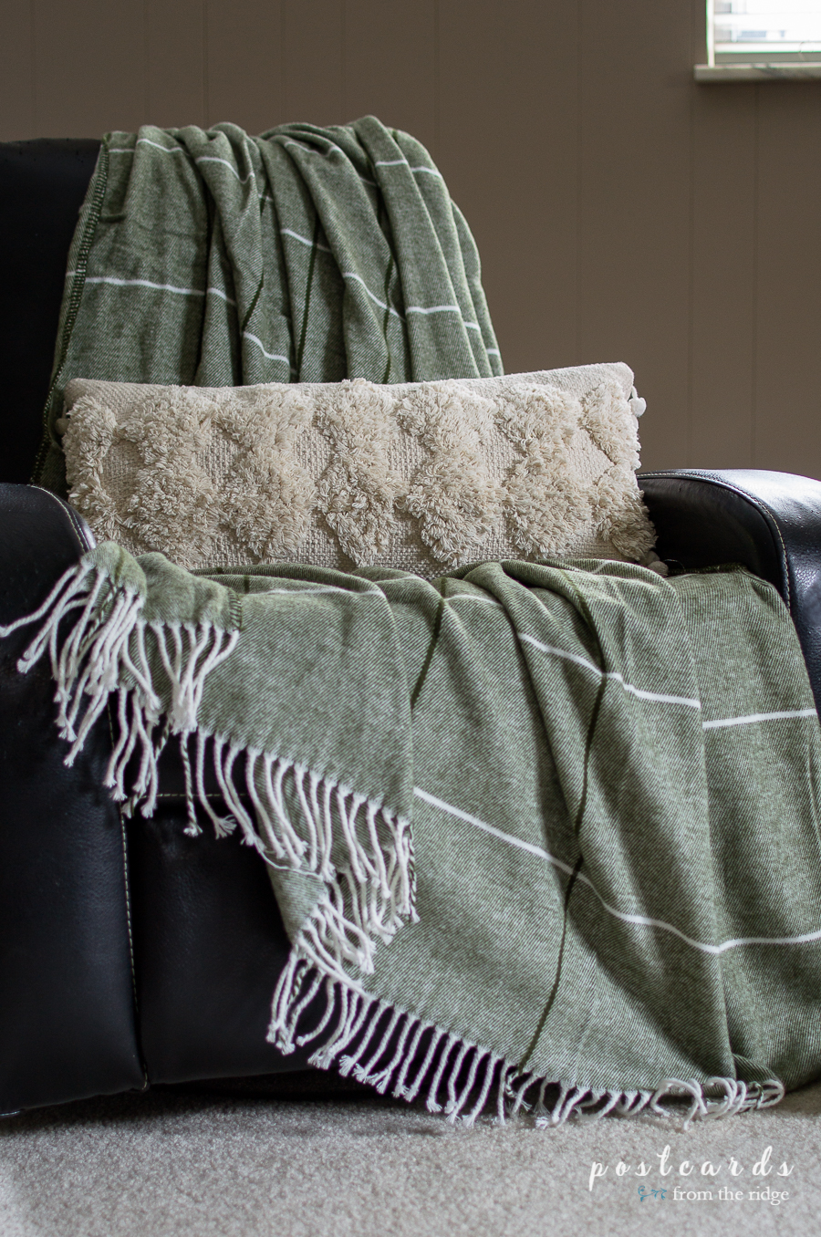 soft textured pillow and cozy throw blanket