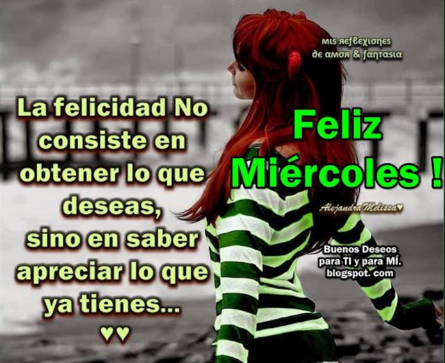La Felicidad no consiste en obtener lo que deseas, sino en saber apreciar lo que ya tienes...  FELIZ MIÉRCOLES !!!