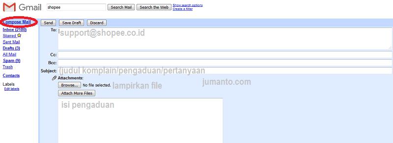 cara mengirim email ke shopee