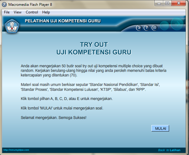 Halaman Try Out Aplikasi Uji Kompetensi Guru 2015 dengan Flash Player