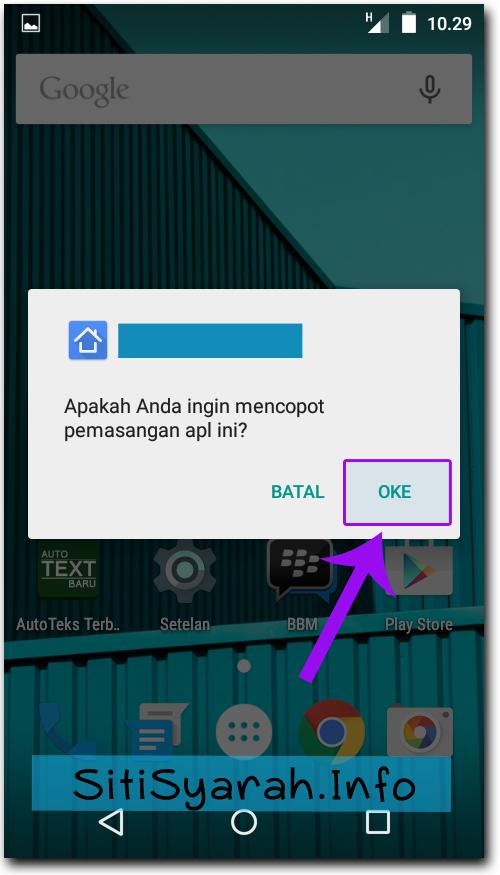 Delete aplikasi Android Lollipop