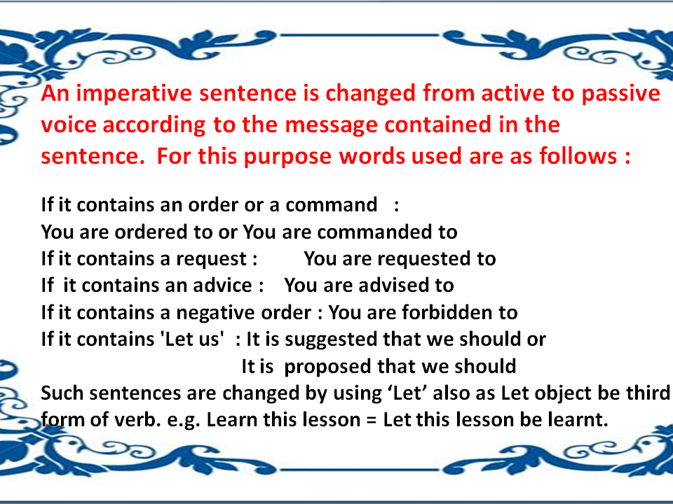 Change The Voice Active And Passive Voice Imperative Sentences