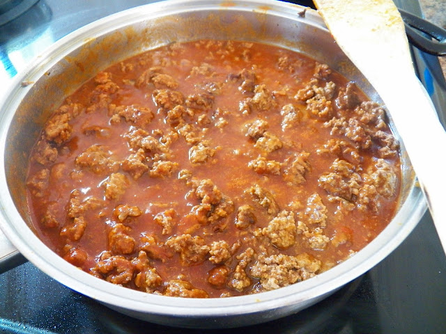 Taco mixture, simmering in pan
