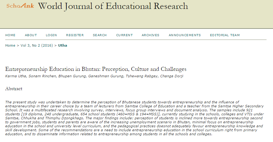 Tshewang rabgays blog entrepreneurship education in bhutan perception culture and challenges malvernweather Choice Image