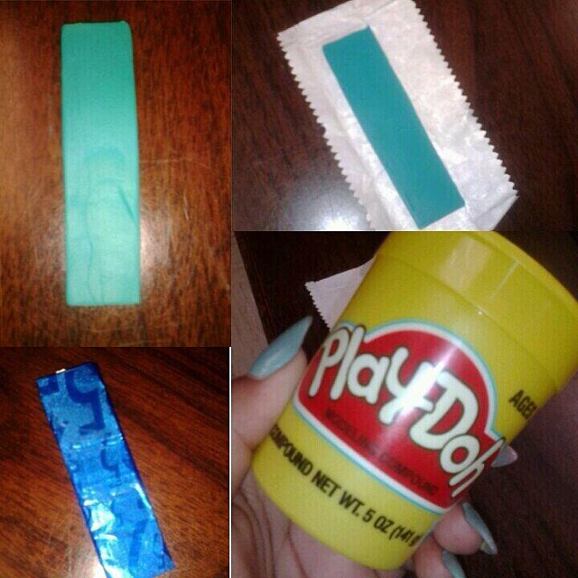 Mold Play-Doh sticks of gum.