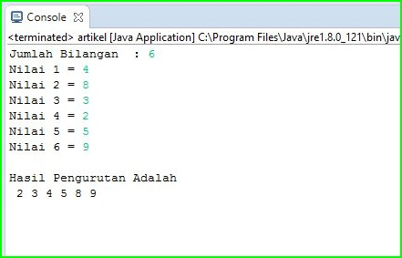 Program Java - Mengurutkan Angka Terkecil ke Terbesar Menggunakan Array