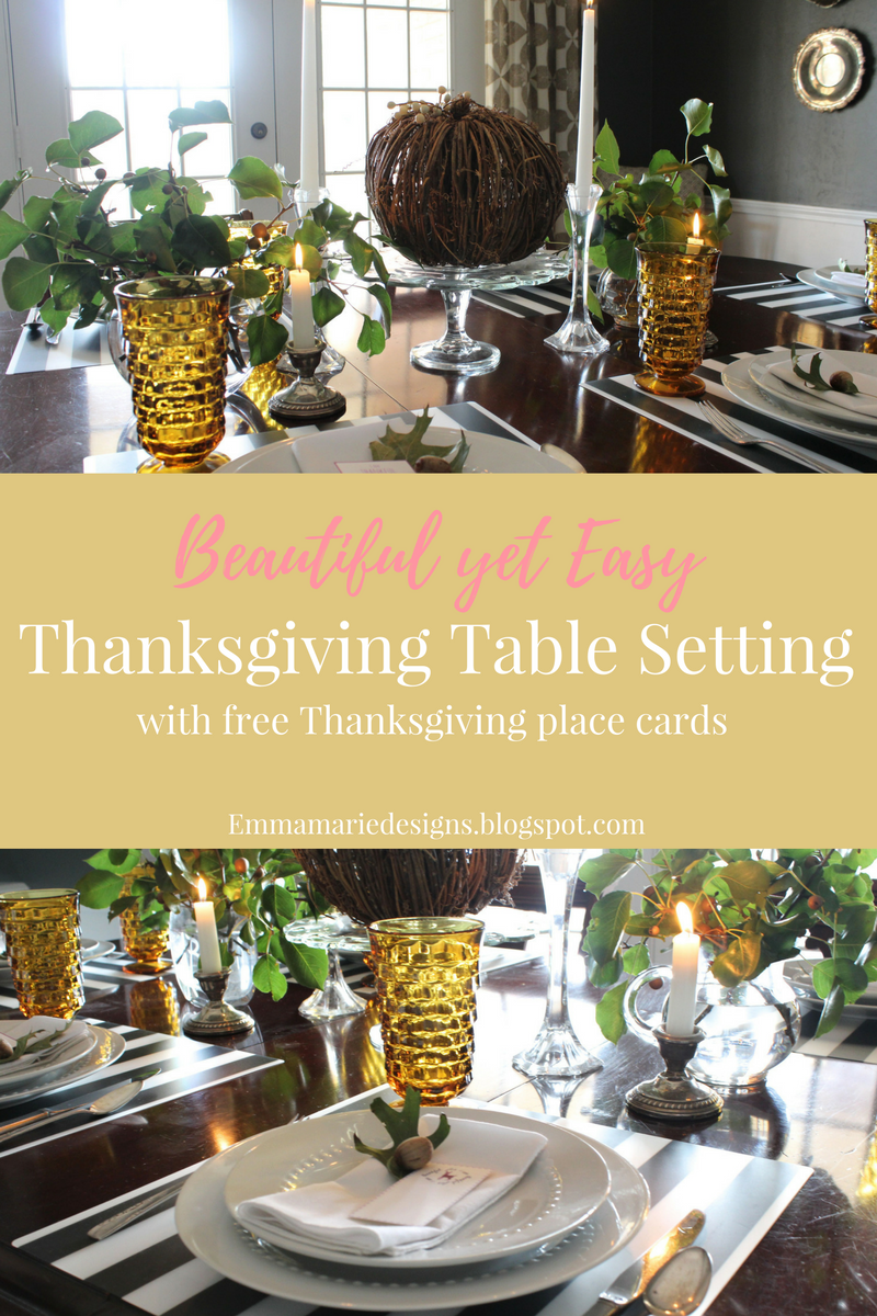 A beautiful thanksgiving table setting emma marie designs for Gorgeous thanksgiving table settings