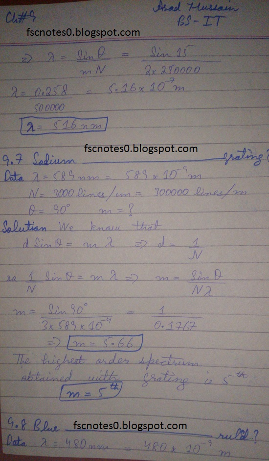 F.Sc ICS Notes: Physics XI: Chapter 9 Physical Optics Numerical Problems Asad Hussain 3