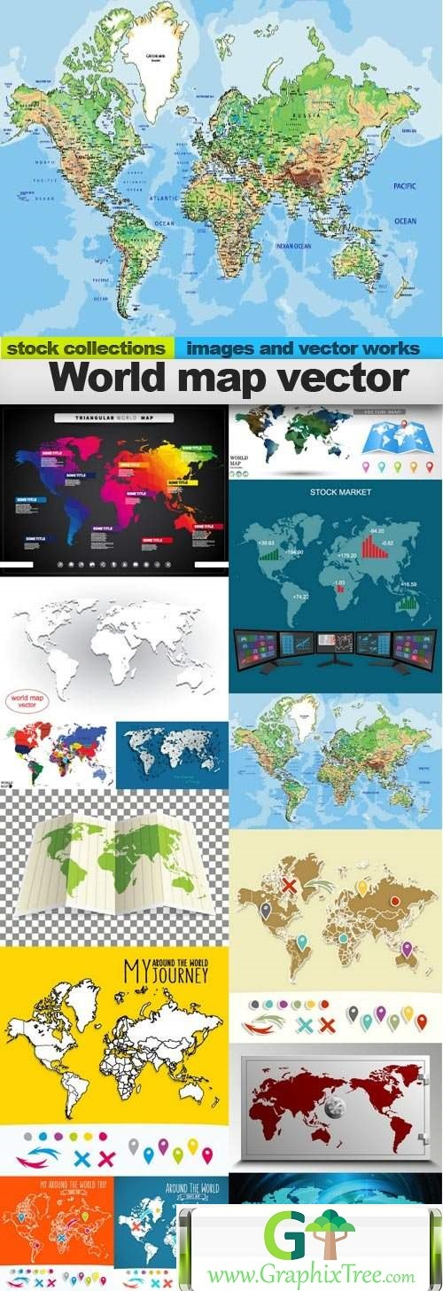 World map vector, 15 x EPS