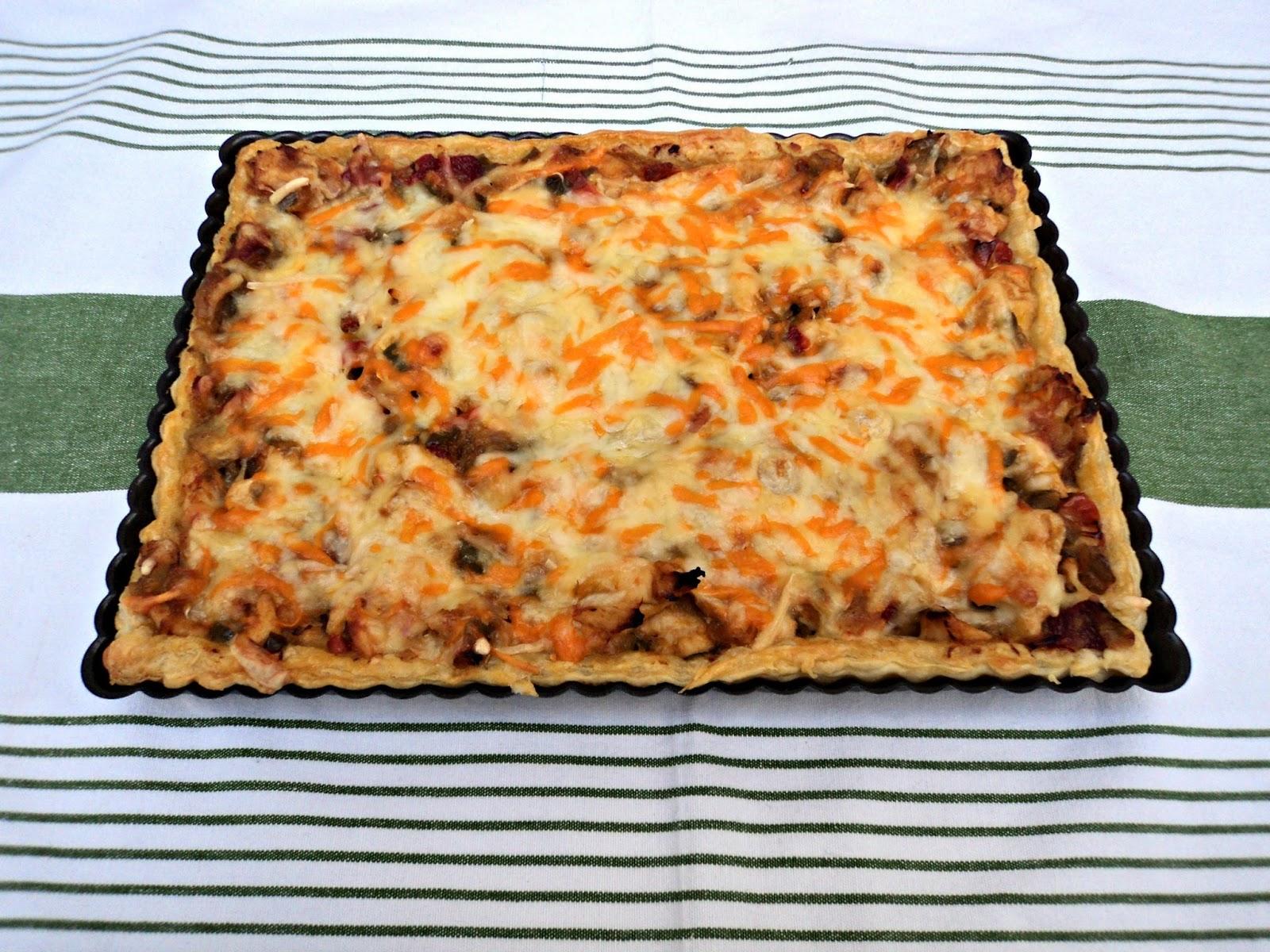 receta casera pizza hojaldre verduras pollo