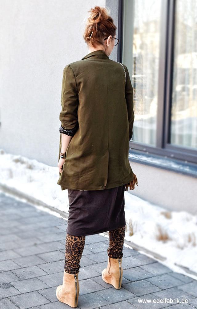 Skinny Jeans im Animalprint, Lagenlook in warmen Farben