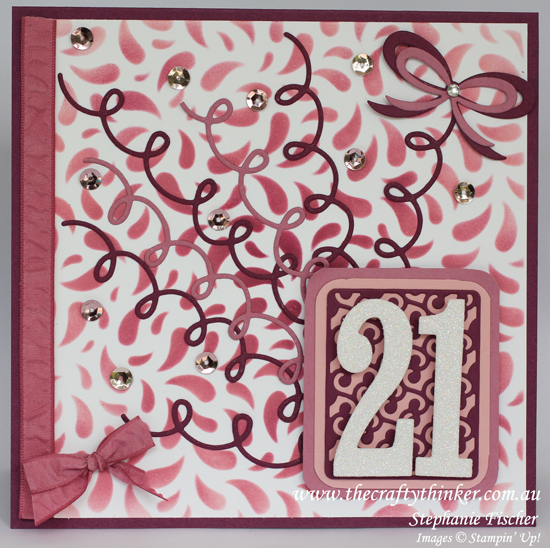 Stampin Up, SU, #thecraftythinker, Holiday Catalogue Sneak Peek, 21st birthday card, masking & sponging, Stampin Up Australia Demonstrator
