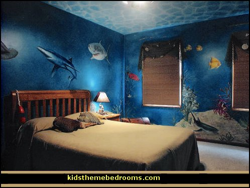 underwater themed bedroom decorating ideas underwater bedroom ideas - under the sea theme bedrooms - mermaid theme bedrooms - sea life bedrooms - Little mermaid princess Ariel - Sponge Bob theme bedrooms - mermaid bedding - Disney's little mermaid - clamshell bed - mermaid murals - mermaid wall decal stickers -