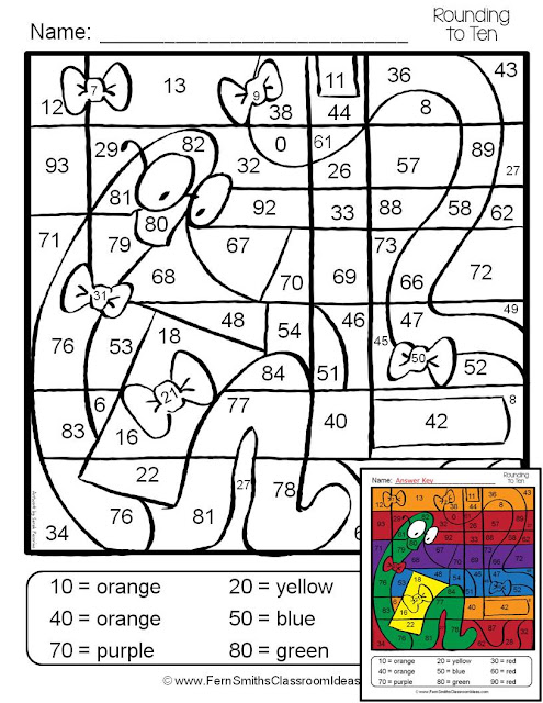 Fern Smith's Classroom Ideas Color Your Answers Rounding to the Nearest Ten and Hundred ~ Two Color By Code Rounding to the Nearest Ten or Hundred Fun Printables, Perfect for Morning Work, Seat Work or Homework At TeacherspayTeachers, TpT.