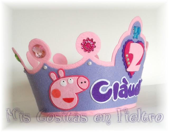 corona de cumpleaños, niños, corona de fieltro, fiesta, felt crown, coroa, feltro, aniversario, Peppa, Peppa Pig
