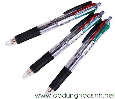 Bút bi 4 ngòi: xanh, đỏ, đen, lá 8030