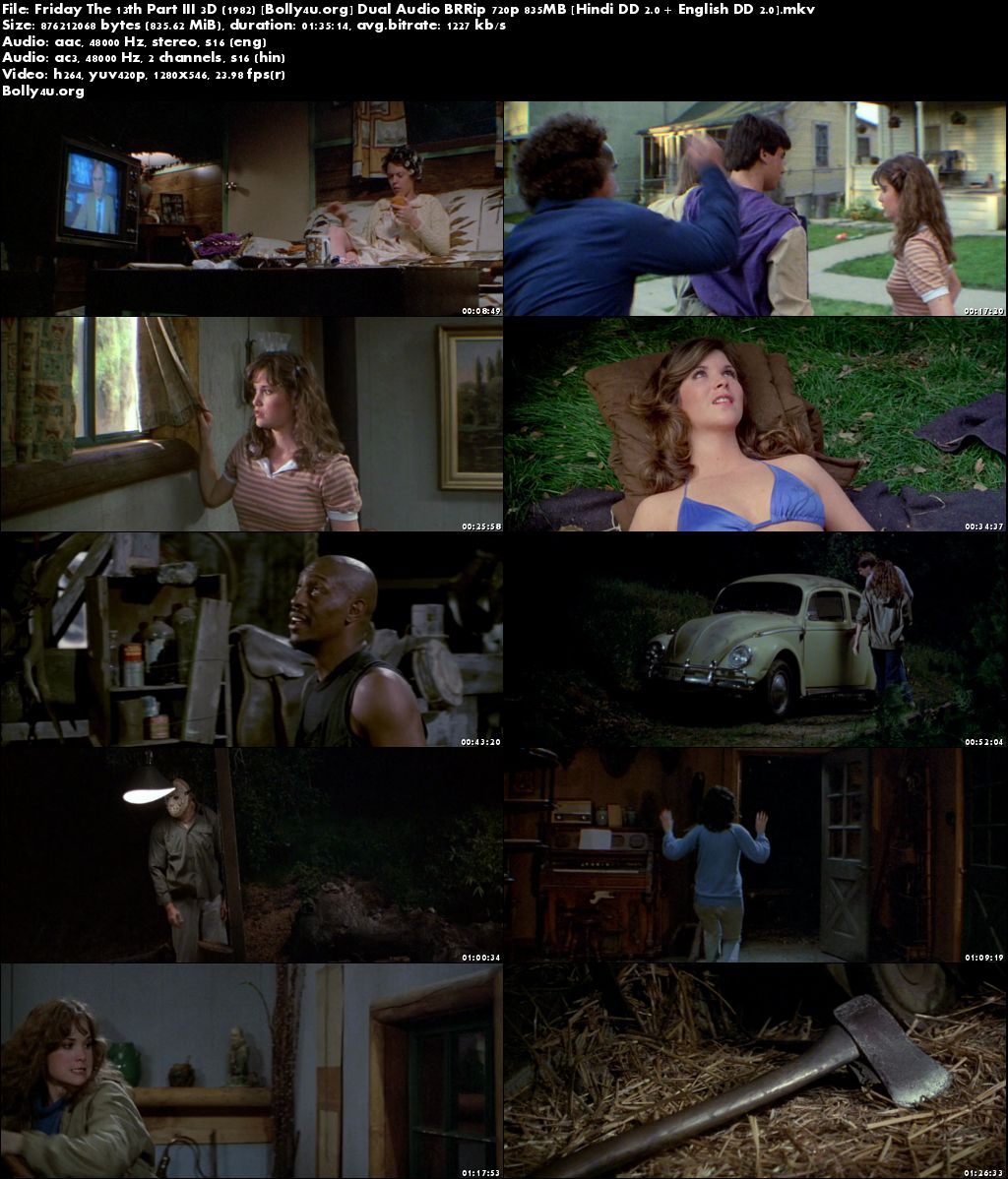 Friday The 13th Part III 1982 BRRip 800MB Hindi Dual Audio 720p Download