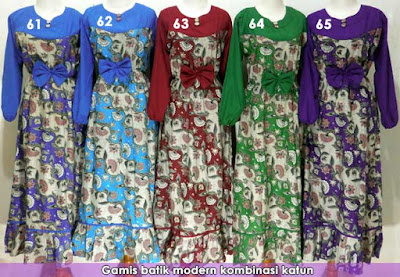 Model Baju Gamis Batik Dengan Desain Terbaru Masa Kini