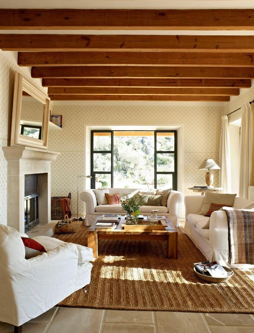 Junto al c lido fuego de una chimenea decoraci n retro for Salones minimalistas con chimenea