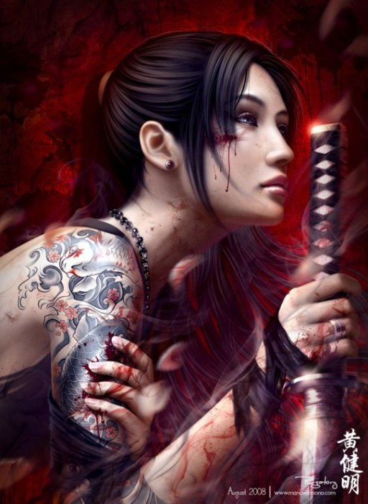 Mario Wibisono deviantart ilustrações fantasia games oriental traços realistas beleza mulheres japão katanas samurais gueixas