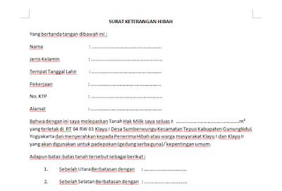 Contoh Surat Pernyataan Hak Milik Gontoh