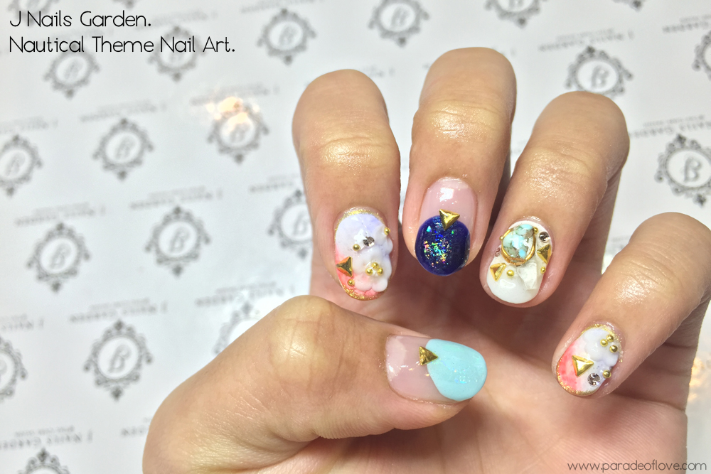 Nautical Floral Nails with J Nails Garden