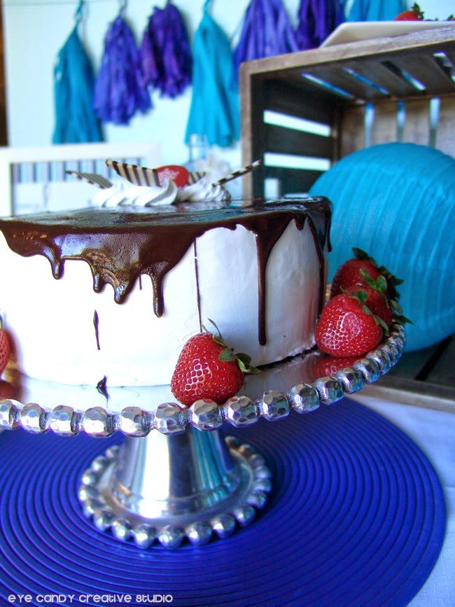 ice cream cake, strawberries, red and blue father's day table