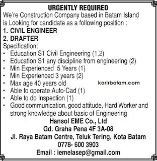 Lowongan Kerja PT. Hansol EME Co., Ltd