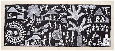 Warli Painting Black Mud
