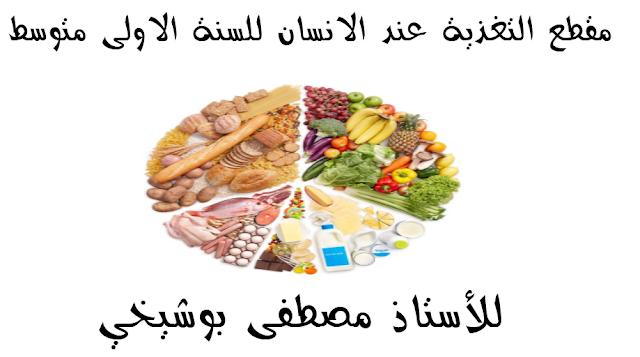 مقطع التغذية عند الانسان للسنة الاولى متوسط للاستاذ مصطفى بوشيخي