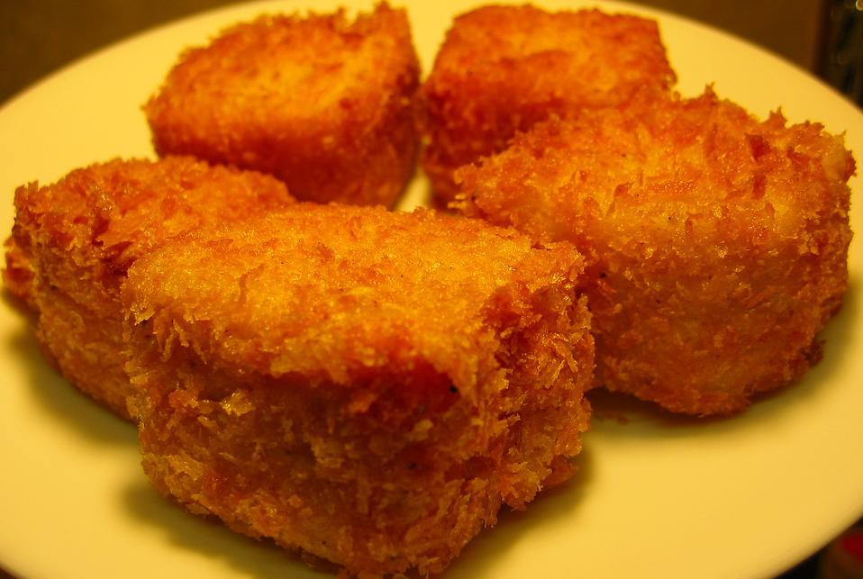 on a stick crispy deep fried bacon deep fried tofu squares deep fried ...